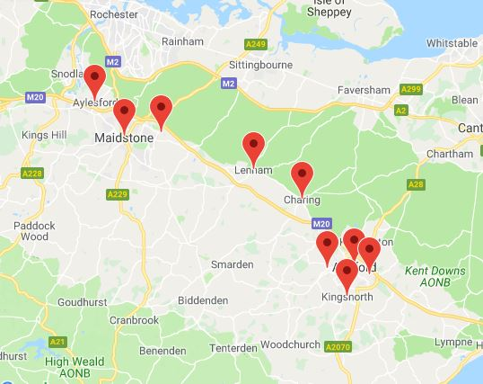 Areas our Ashford and Maidstone office covers